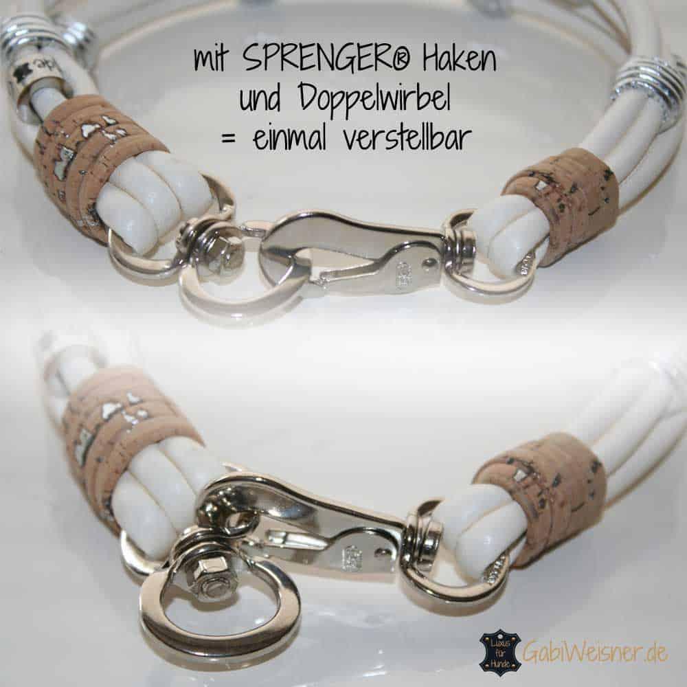 Hundehalsband Nappaleder 2,5 cm breit. Beispiel in Elfenbein/Silber