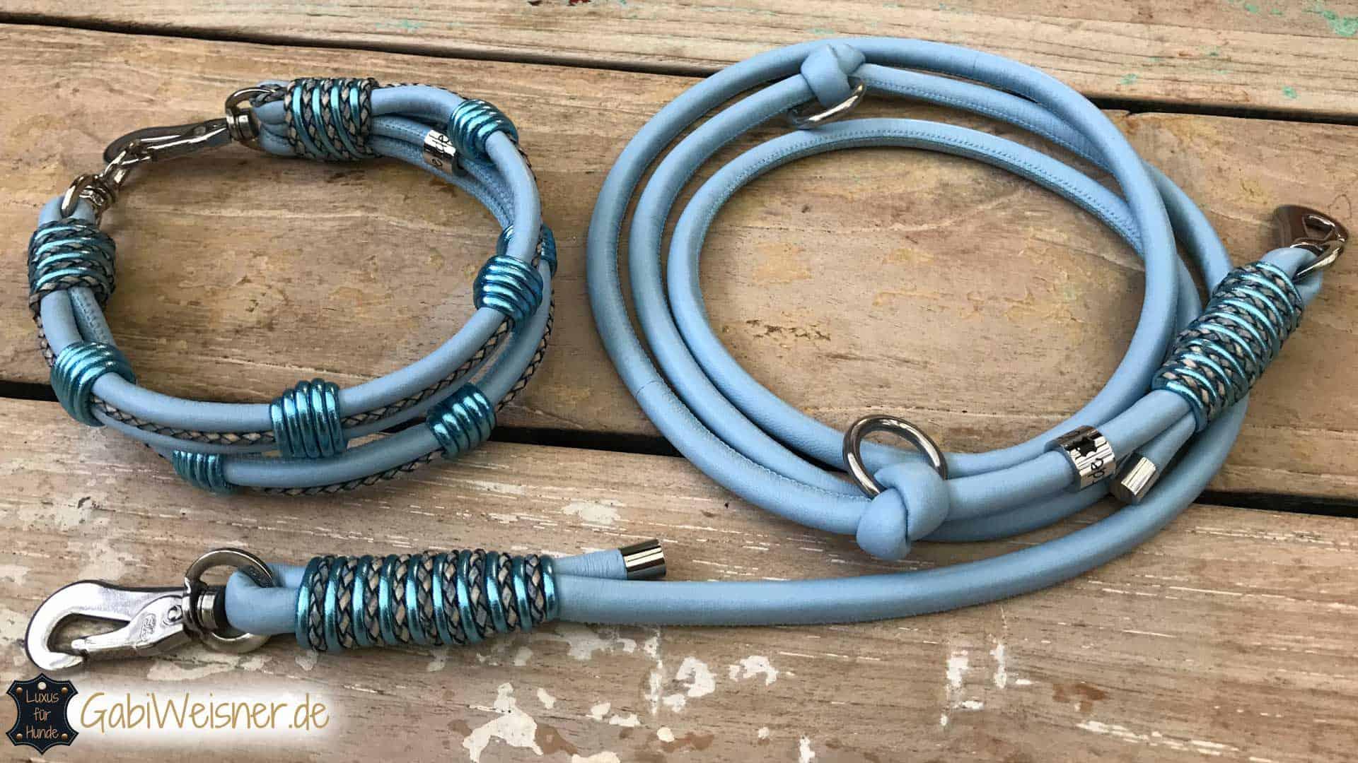 Hundehalsband Nappaleder 3 cm breit. Beispiel in Hellblau