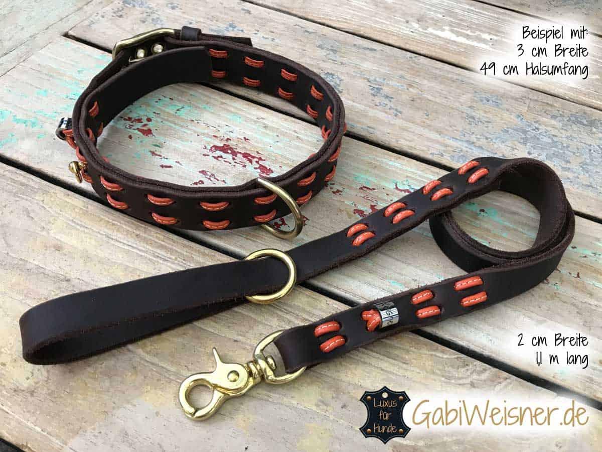 Hundehalsband und Leine im SET aus Fettleder