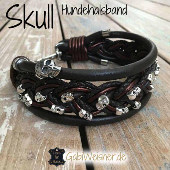 Skull Hundehalsband Leder 5 cm breit