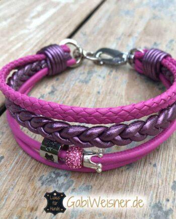 Hundehalsband in Pink mit Strass und Krone