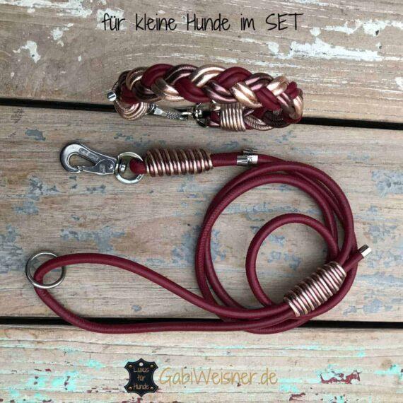 Halsband und Leine SET Leder Dunkelrot Rosegold