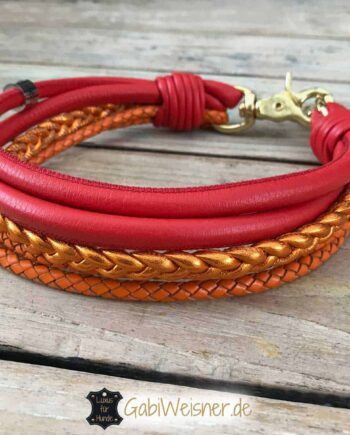 Dog Collar Leather Red and Orange