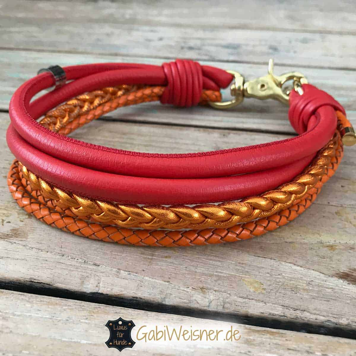 Dog Collar Leather Red Orange in Mix