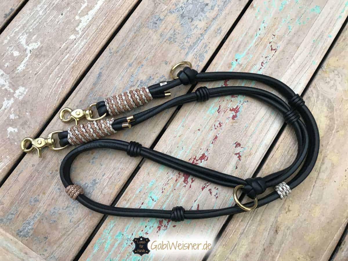passende Leine zum Hundehalsband im Leder Mix mit Ohrtunnel