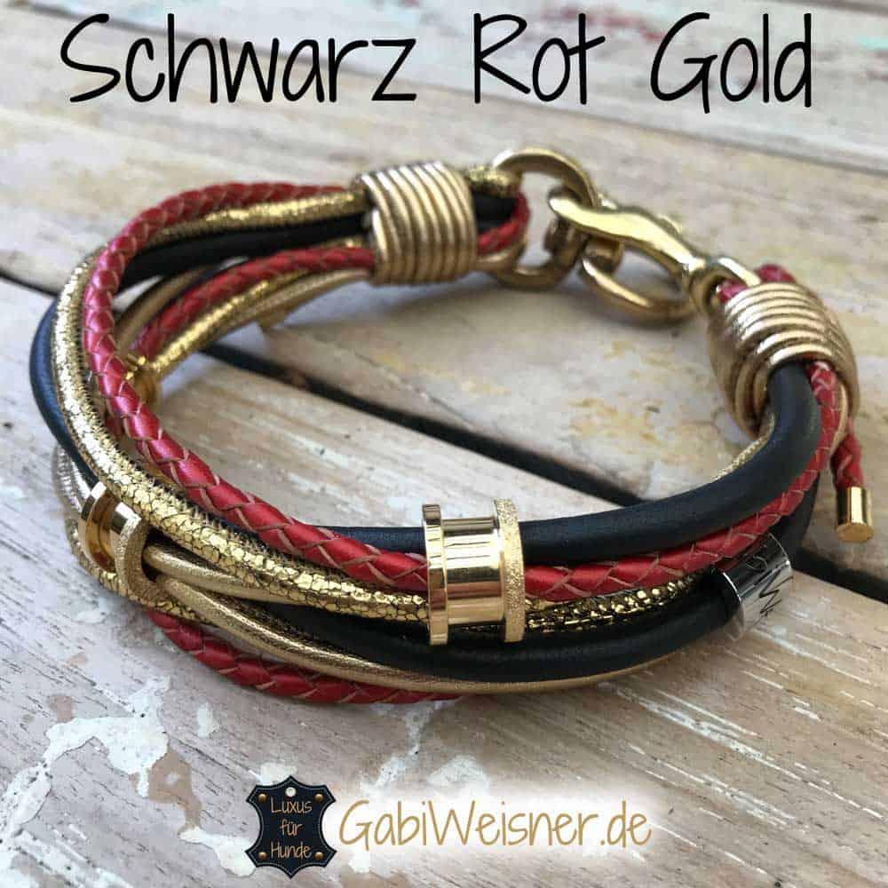 Hundehalsband Schwarz Rot Gold