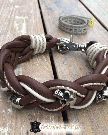 Totenkopf Hundehalsband Nappaleder breit geflochten