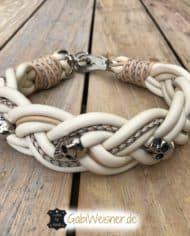 Totenkopf-Hundehalsband-Nappaleder-breit-geflochten-elfenbein