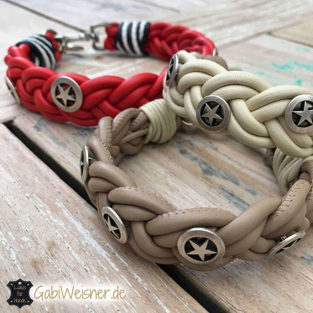Hundehalsband aus Nappaleder geflochten und mit Sheriffsternen dekoriert