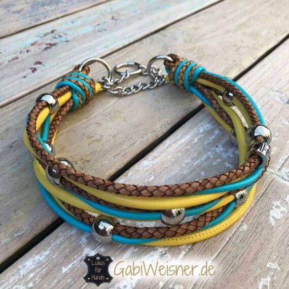 Hundehalsband mit Edelstahl Perlen 5 cm breit