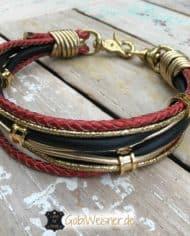 Luxus-Hundehalsband-4-cm-breit-schwarz-rot-gold