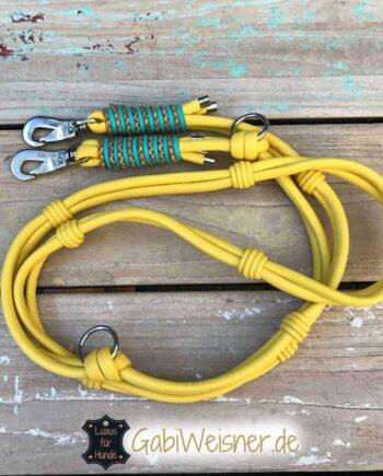Exklusive Hundeleine Leder 2-fach verstellbar Boho-Chic in Gelb.