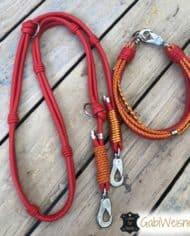Halsband-und-Leine-Luxus-in-Rot-und-Orange