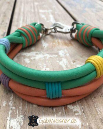Hundehalsband Leder in Pastellfarben. Luxus für Hunde 4,5 cm breit