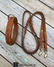 Hundehalsband-und-Leine-aus-Fettleder-in-Cognac-und-Orange