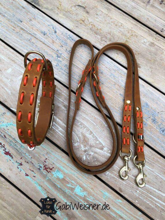 Hundehalsband und Leine aus Fettleder in Cognac und Orange