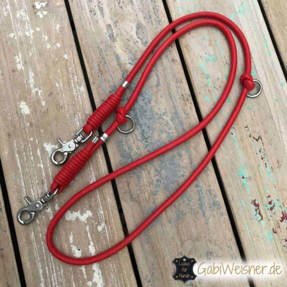 Hundeleine Leder rund in Rot oder in anderen Farben wählbar