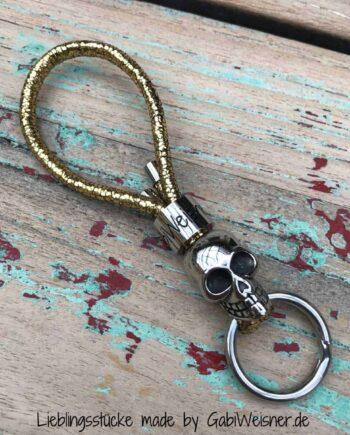 Schlüsselanhänger Gold-Glitzer und Skull