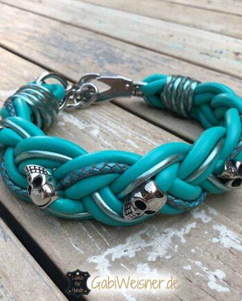 Hundehalsband Leder breit geflochten