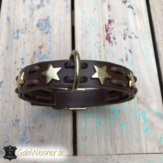 Hundehalsband in Braun mit Sternen in Gold