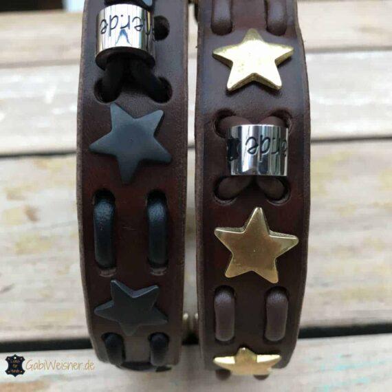 Hundehalsband mit Sternen dekoriert. Rindleder 2,5 cm breit