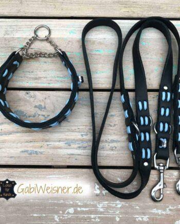 Hundehalsband und Leine aus Fettleder. Farbe nach Wunsch