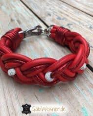 Hundehalsband-Leder-Rot-Strass-1