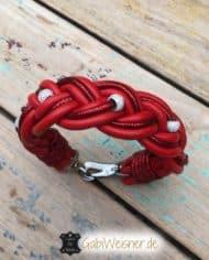 Hundehalsband-Leder-Rot-Strass-2