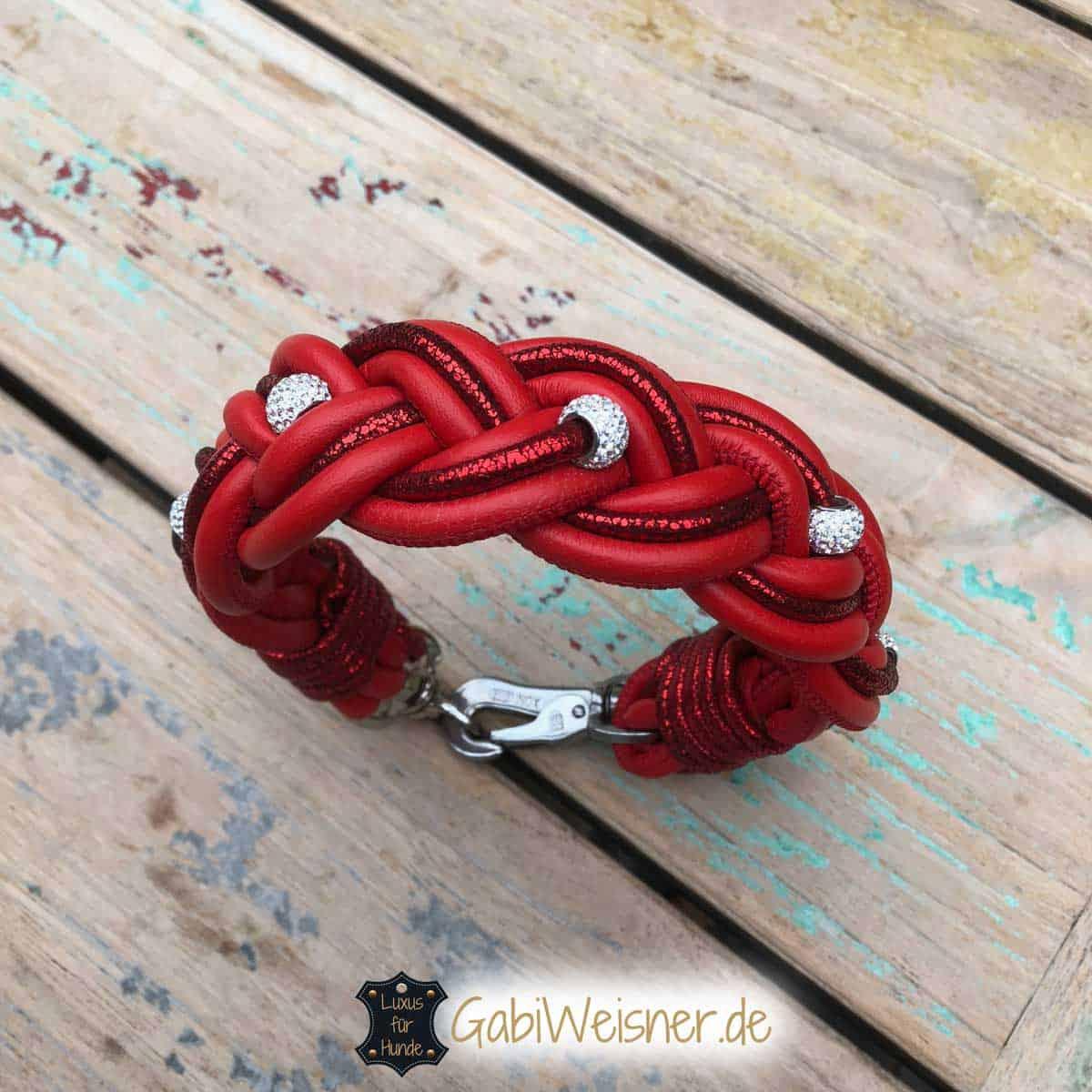 Hundehalsband Leder in Rot mit Strass und Glitzer
