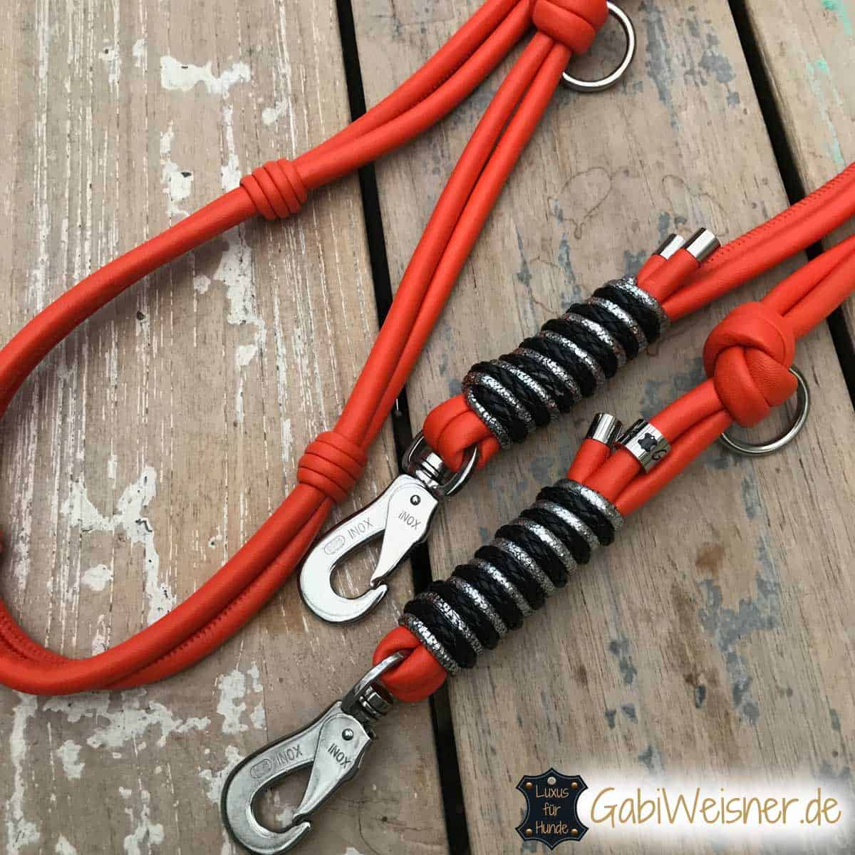 Hundeleine Leder Luxus in Orange