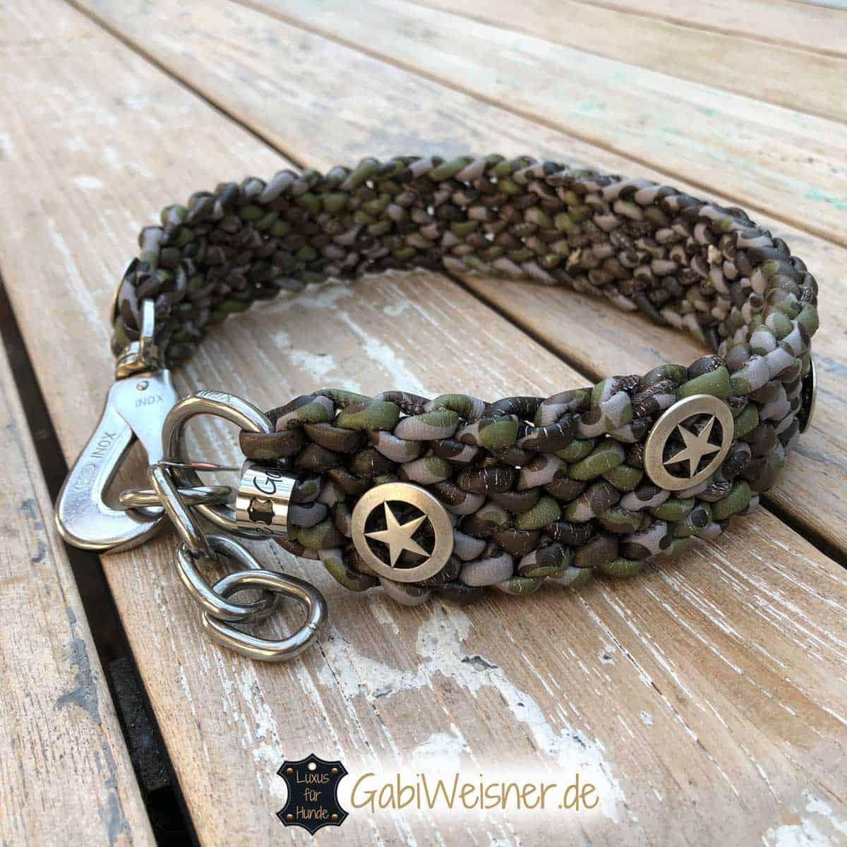 Hundehalsband Leder Camouflage