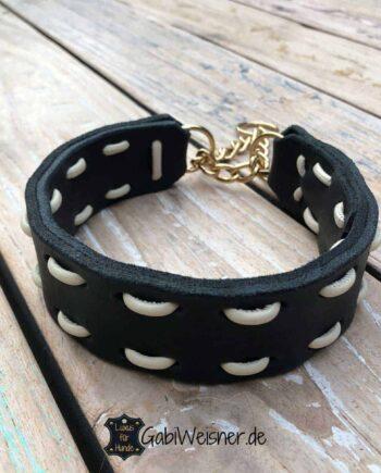 Rhodesian Ridgeback Halsband Zugstopp Leder 4 cm breit. Wunschfarbe