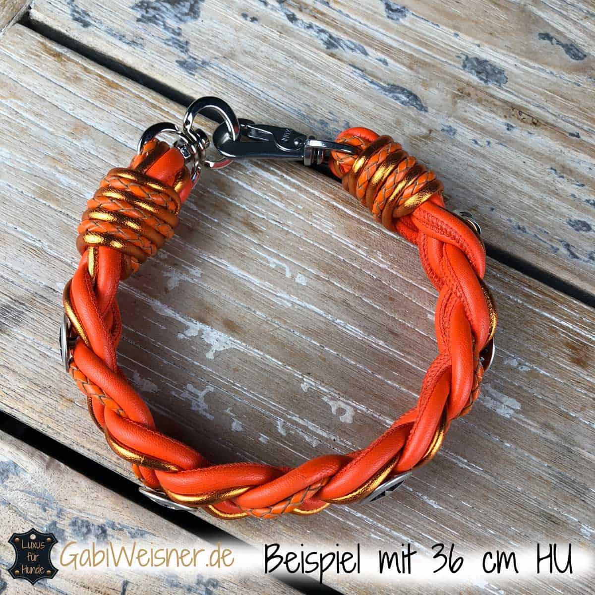 Hundehalsband Leder Orange mit Sheriffstern