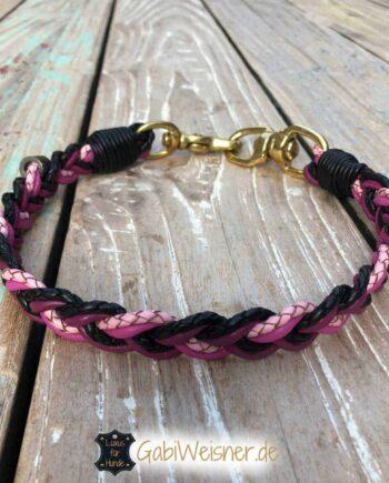 Hundehalsband 2 cm breit mit 4 Farben geflochten