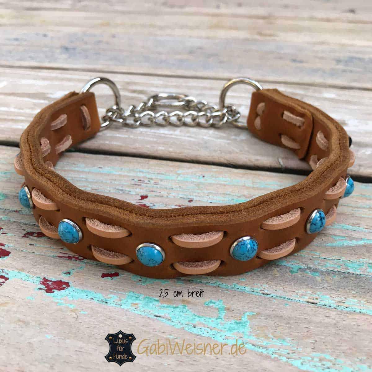 Hundehalsband Zugstopp Fettleder in 3 Farben,hierin Braun, Cognac oder Schwarz.