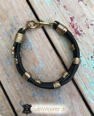 Hundehalsband-Leder-3-cm-Schwarz-gold-2