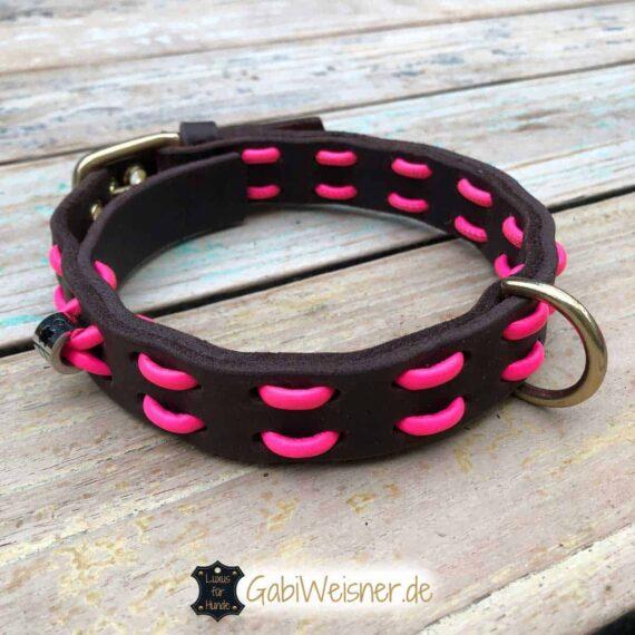 Hundehalsband Neon Pink. Leder in Schwarz oder Braun 2,5 cm breit