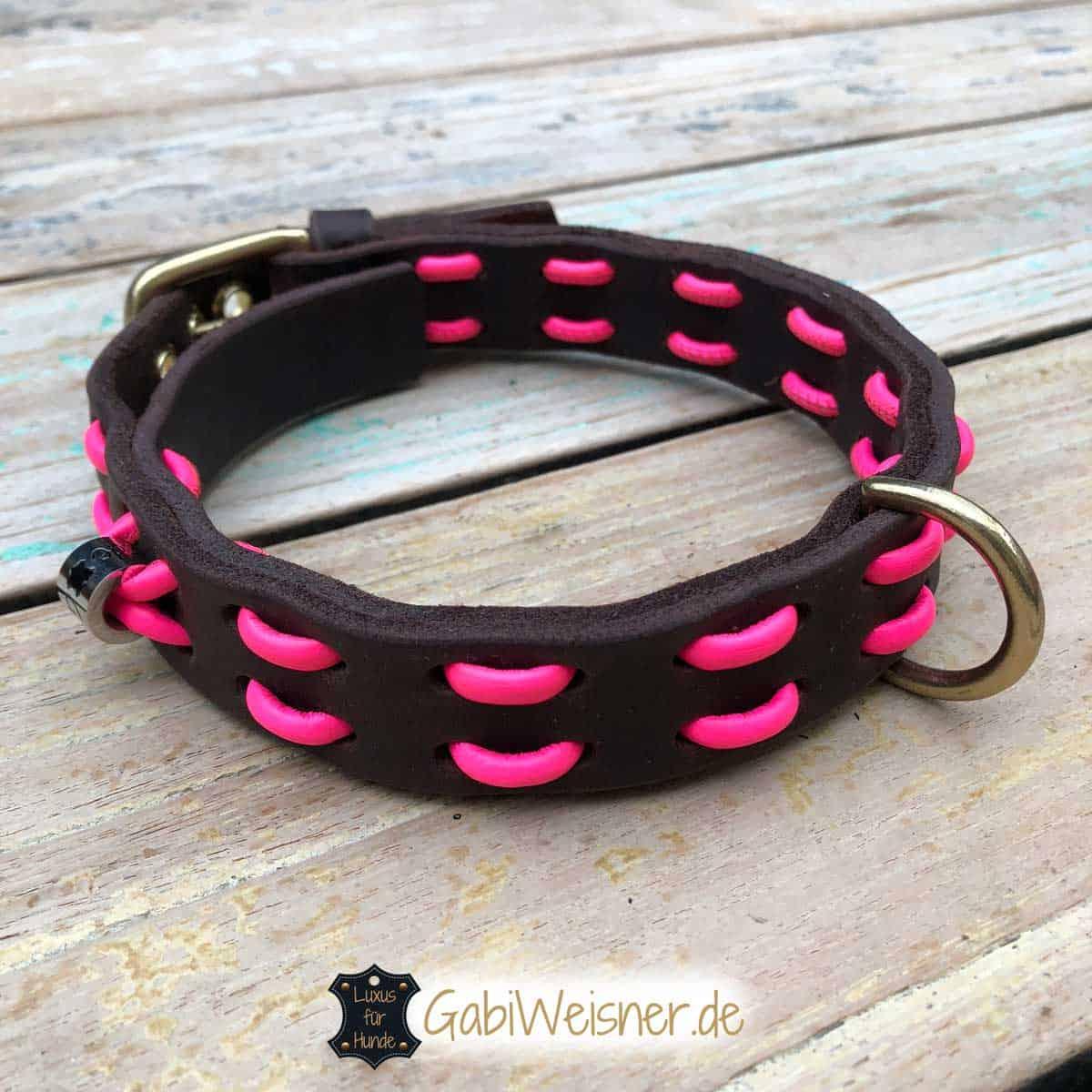 hundehalsband neon pink leder in schwarz oder braun 2 5 cm breit. Black Bedroom Furniture Sets. Home Design Ideas