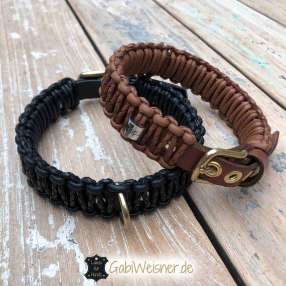 Hundehalsband in Sattelbraun oder Schwarz Leder 3 cm breit geknotet. 3-fach verstellbar mit einer Messingschließe in Ösen aus Messing.