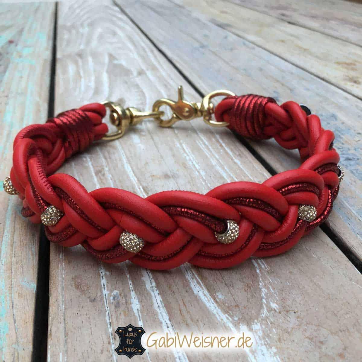 Hundehalsband weihnachtlich in Rot mit Strass und Gold