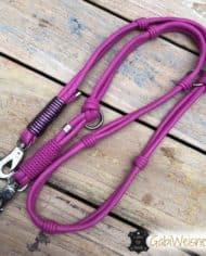 Hundeleine-Leder-in-Pink-2-fach-verstellbar-1