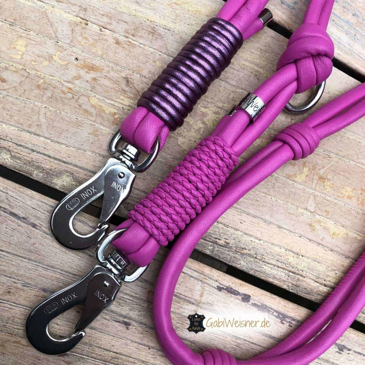 Hundeleine Leder in Pink