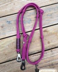 Hundeleine-Leder-in-Pink-2-fach-verstellbar-3