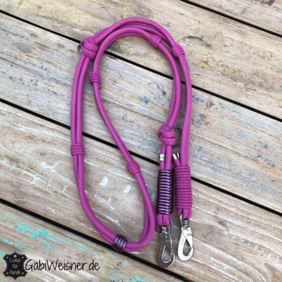 Hundeleine Leder in Pink 2-fach verstellbar und für große Hunde geeignet