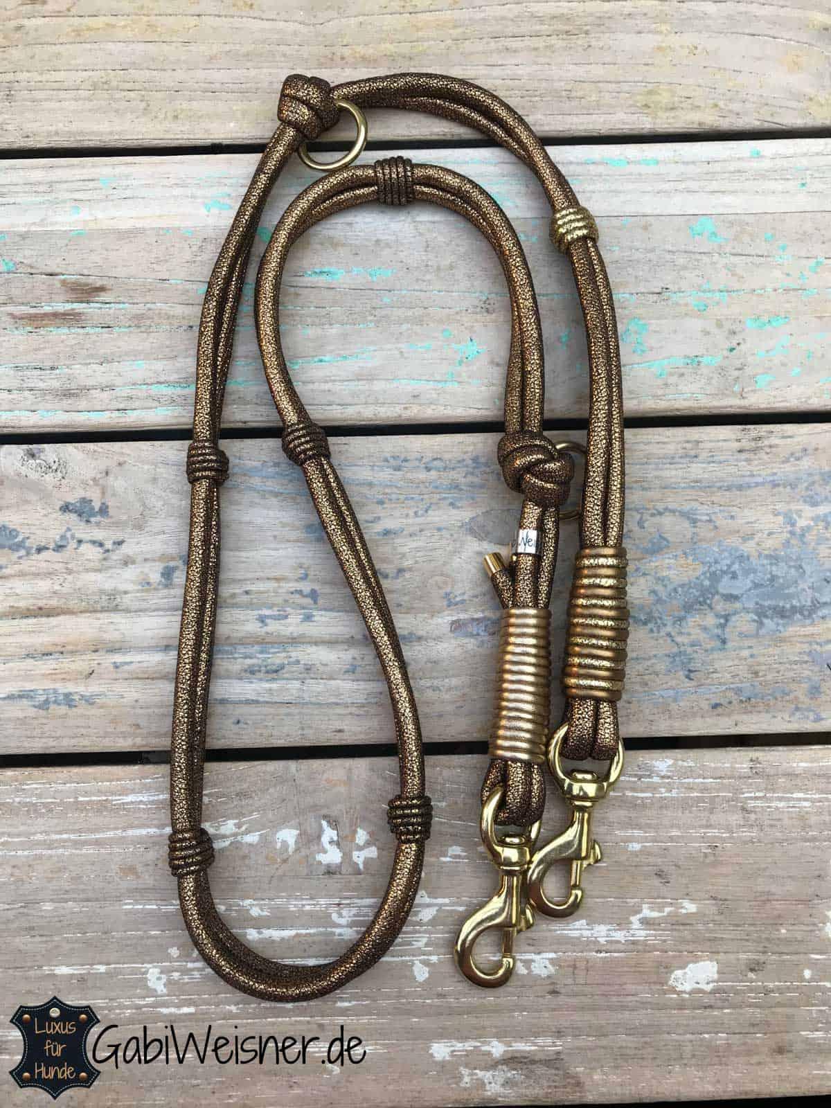 Luxus Hundeleine Leder Goldstück. Doppelstrang je 8 mm im Ledermix 1,6 m lang