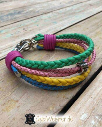 Hundehalsband Lederband in 5 Pastellfarben