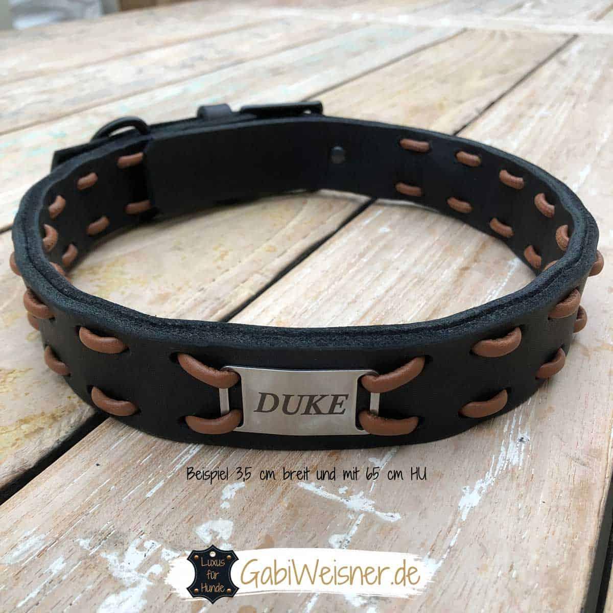 Halsband mit Namen für große Hunde. Luxus aus Vollleder