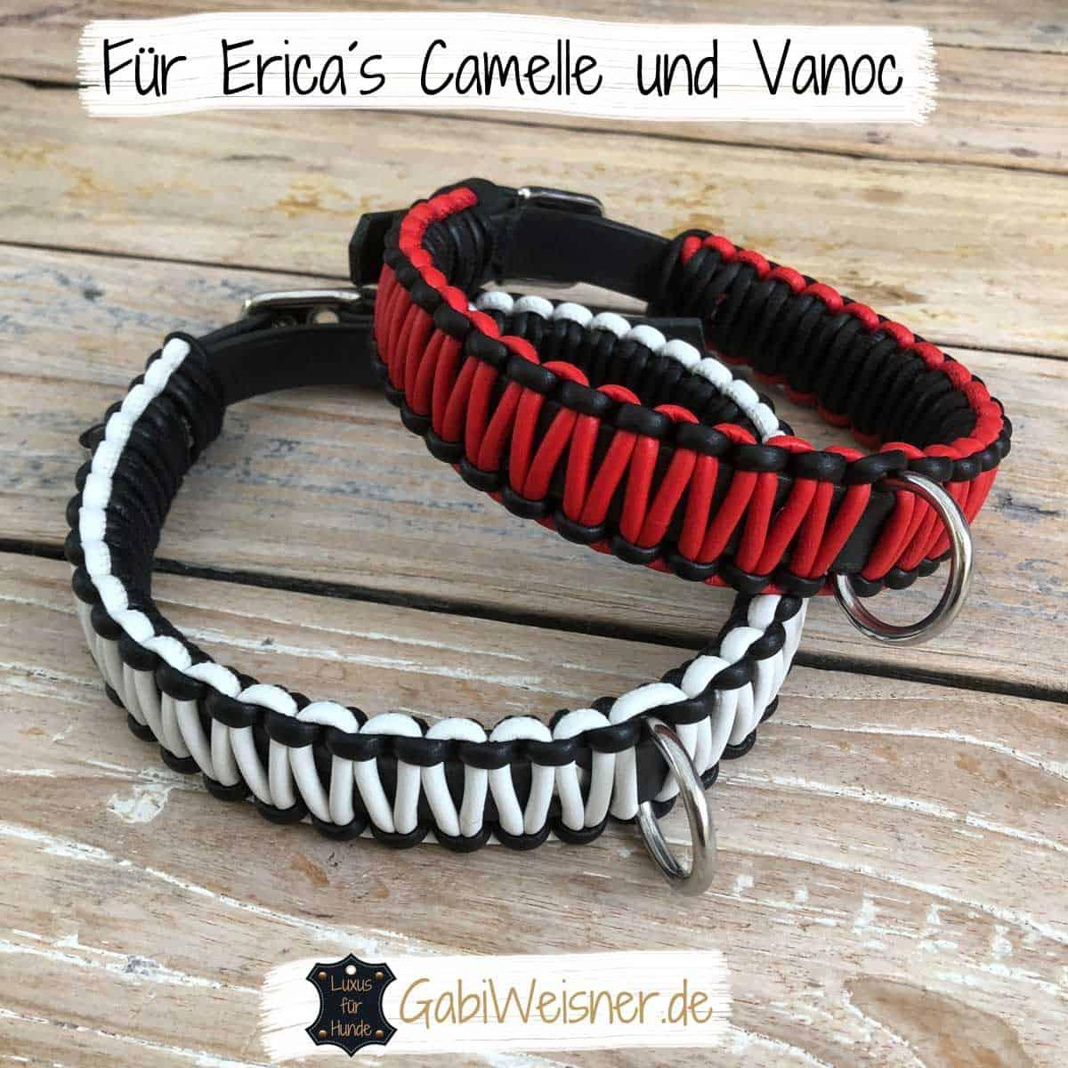 Hundehalsband 3 cm breit Leder in Schwarz Weiß