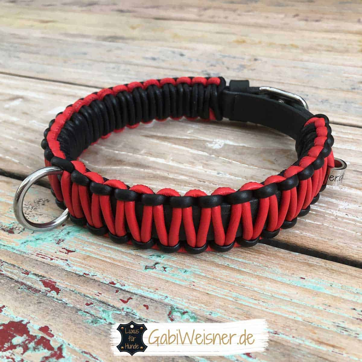 Hundehalsband 3 cm breit Leder in Schwarz Rot