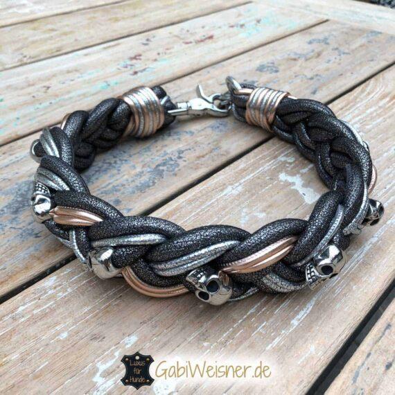 Luxus Hundehalsband breit geflochten
